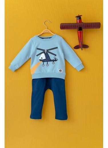 Cigit Helikopter Nakışlı Sweatshirt ve Eşofman Altı Takı Mavi